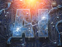 AI, Artificial Intelligence. Computer chips with CPU in form of vector illustration