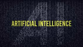 AI Artificial Intelligence computer code title logo with a blue and yellow color grade. Effect royalty free stock photography