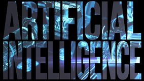 AI Artificial Intelligence computer code title logo with futuristic technology filled text stock illustration