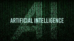 AI Artificial Intelligence computer code title logo. With a green color grade royalty free stock photos