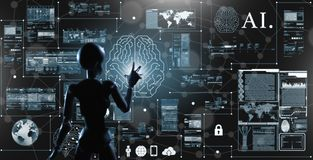 AI, Artificial intelligence conceptual of next generation techno stock images