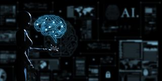 AI, Artificial intelligence conceptual of next generation techno royalty free stock photos