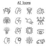 AI, Artificial intelligence icon set in thin line style. Vector illustration graphic design stock illustration
