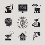 AI, Artificial Intelligence icons and signs. AI, Artificial Intelligence, AI icons ans AI signs. Vector illustration Royalty Free Stock Photo