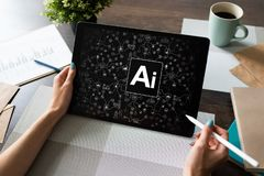 AI - Artificial intelligence, Internet, IOT and automation concept. royalty free stock image