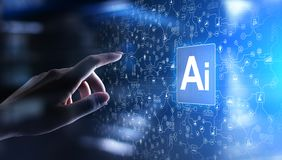 AI Artificial intelligence, Machine learning, Big data analysis and automation technology in business. And industrial manufacturing concept on virtual screen royalty free stock photo