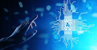 AI Artificial intelligence, Machine learning, Big data analysis and automation technology in business on virtual screen. royalty free stock photos