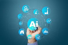 AI, Artificial intelligence, machine learning, neural networks and modern technologies concepts. IOT and automation. AI, Artificial intelligence, machine Stock Image