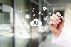 AI, artificial intelligence, in modern medical technology. IOT and automation. AI, artificial intelligence, in modern medical technology. IOT and automation royalty free stock photo