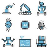 AI automatiserade uppsättningen för illustrationen för designen för vektorn för robotsystemsymbolen royaltyfri illustrationer