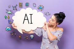 AI avec la femme tenant une bulle de la parole Photos libres de droits