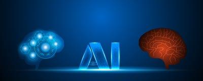 AI beleuchten Buchstabetextsymbol, Menschen- und Robotergehirn, über Netz stock abbildung