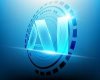 Ai-bokstavsDigital konstgjord intelligens med Techcirklar och royaltyfri illustrationer