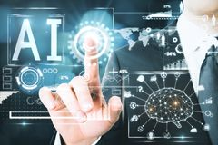 AI and brainstorm concept royalty free stock image