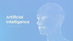 AI Concept d'intelligence artificielle Cerveau numérique d'AI Visage humain numérique de résumé Tête humaine dans le calculateur