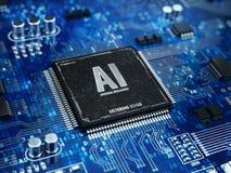 AI, concept d'intelligence artificielle - microprocesseur de puce avec le signe d'AI et code binaire Image stock
