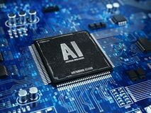AI, concetto di intelligenza artificiale - microprocessore del chip di computer con il segno di AI e codice binario illustrazione vettoriale