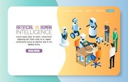 AI contre le calibre humain de vecteur de site Web de page d'atterrissage illustration stock