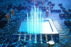 AI - CPU di concetto di intelligenza artificiale Apprendimento automatico Unità di elaborazione del computer centrale sul circuit royalty illustrazione gratis