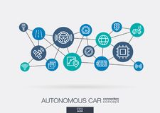 Autonomous electric car, self-driving, autopilot integrated business vector icons. Digital smart mesh idea. Futuristic. AI creative think system concept. Digital vector illustration