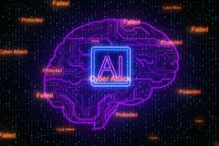 AI and cyberspace concept. Creative digital brain background with circuit. AI and cyberspace concept. 3D Rendering vector illustration