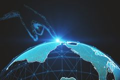 AI and distributed concept. Abstract digital hand pointing at polygonal globe on blue background. AI and distributed concept. 3D Rendering stock illustration