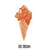 ai dostępna kremowa kartoteki lodu ilustracja Ręka rysująca akwarela na białym tle Obraz Stock