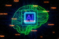 AI and engineering concept. Creative digital brain background with circuit. AI and engineering concept. 3D Rendering royalty free illustration