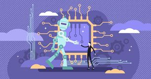 AI ethics vector illustration. Flat tiny robot intelligence behavior perception logic. AI ethics vector illustration.Flat tiny robot relationship persons royalty free illustration