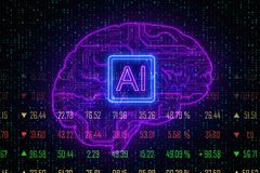 AI and forex concept. Creative digital brain background with circuit. AI and forex concept. 3D Rendering vector illustration