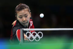 Ai Fukuhara at the Olympic Games 2016. Third place women team Finale Japan beat Singapore 3.1.Olympic Games. Rio Centro 3.Rio de Janeiro Royalty Free Stock Photos