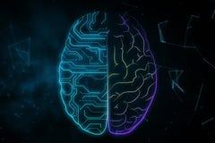 AI and futuristic concept. Creative digital brain background with circuit. AI and futuristic concept. 3D Rendering stock illustration