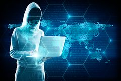 AI and global concept. Hacker in hoodie using laptop with digital glowing map interface. AI and global concept. Double exposure royalty free illustration