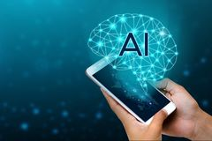 AI Hand Business people press the phone. Brain Graphic Binary Blue Technology royalty free stock photo