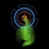 Ai-Handreichweiten in Richtung zur grafischen NotenBenutzerschnittstelle HUD Projektion der virtuellen Realität Stockfoto