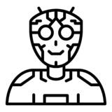 Ai humanoid intellect icon, outline style. Ai humanoid intellect icon. Outline ai humanoid intellect vector icon for web design isolated on white background vector illustration