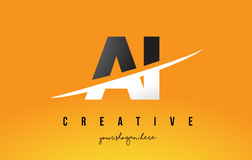 AI A I Letter Modern Logo Design with Yellow Background and Swoo. AI A I Letter Modern Logo Design with Swoosh Cutting the Middle Letters and Yellow Background Stock Photos