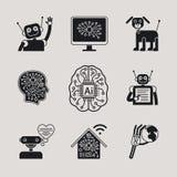 AI, iconos de la inteligencia artificial y muestras Foto de archivo libre de regalías