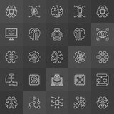 AI icons collection - vector artificial intelligence signs Royalty Free Stock Photos