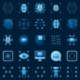 AI icons set. Vector artificial intelligence logo elements vector illustration