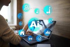 AI, inteligência artificial, aprendizagem de máquina, redes neurais e conceitos modernos das tecnologias IOT e automatização imagem de stock
