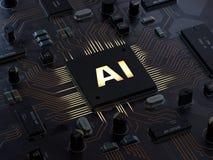 AI, inteligência artificial, conceito do computador ilustração do vetor