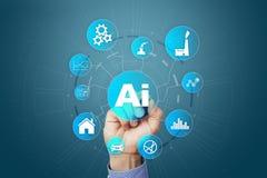 AI, inteligencia artificial, aprendizaje de máquina, redes neuronales y conceptos modernos de las tecnologías IOT y automatizació imagen de archivo