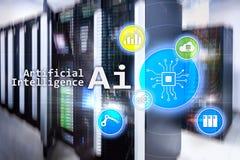 AI, inteligencia artificial, automatización y concepto moderno de la tecnología de la información en la pantalla virtual imágenes de archivo libres de regalías