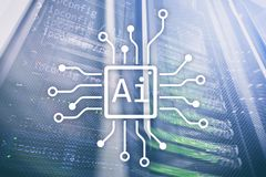 AI, inteligencia artificial, automatización y concepto moderno de la tecnología de la información en la pantalla virtual fotografía de archivo