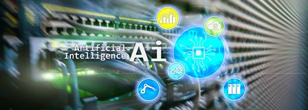 AI, inteligencia artificial, automatización y concepto moderno de la tecnología de la información en la pantalla virtual fotos de archivo libres de regalías