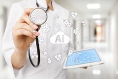 AI, inteligencia artificial, en tecnología médica moderna IOT y automatización fotos de archivo libres de regalías