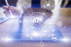 AI - Inteligencia artificial, tecnolog?a e innovaci?n elegante en negocio de la industria y concepto de la vida en la pantalla vi fotografía de archivo libre de regalías