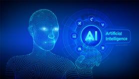 AI Intelligence artificielle Apprentissage automatique Main femelle de cyborg de Wireframed touchant l'interface numérique de gra
