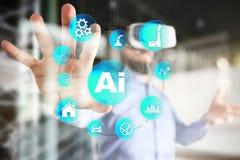 AI, intelligence artificielle, apprentissage automatique, réseaux neurologiques et concepts modernes de technologies IOT et autom illustration stock